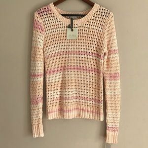 NWT HINGE Cora Open Knit Peach Sweater - M